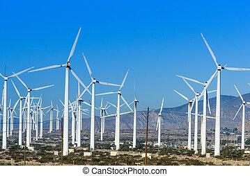 Wind turbines with 3 blades in desert - Turbines near Palm...