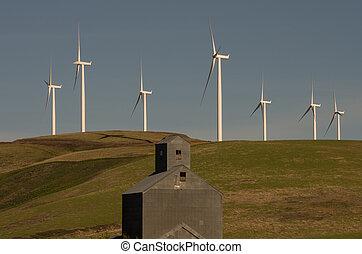 Wind turbines with abandoned grain elevator