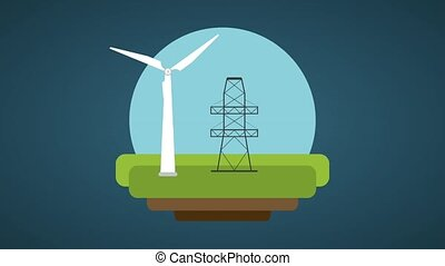 Wind turbines with electric towers