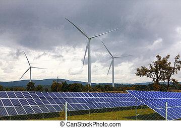 Wind turbines with solar panels
