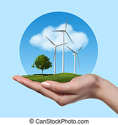 Wind turbines with tree in female hand - Wind turbines on ...