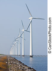 wind turbines, zee, voor de kust, hollandse