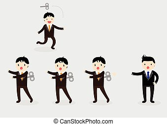 Wind-Up Businessman Concept - Businessman with wind-up key...