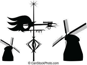 Wind vane cock and mills