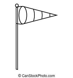 Wind vane icon, outline style - Wind vane icon. Outline...