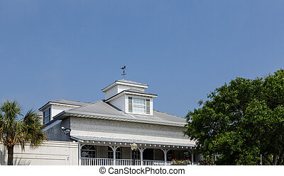 Wind Vane on Dormer on Tin Roof of Old Tabby Building