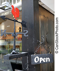 Wind vane rooster with Open sign