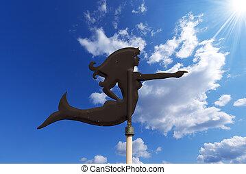 Wind Vane shaped Mermaid - Old wind vane, black wrought...