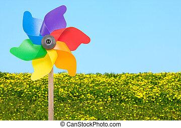 Wind wheel in front of summer meadow