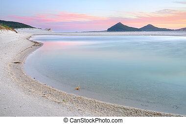 winda, woppa, lagun, hos, solnedgång