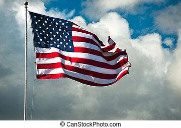 windblown, drapeau