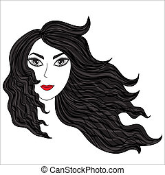 windblown, ragazza, hairs.