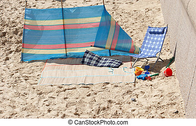 Windbreaker on the sand