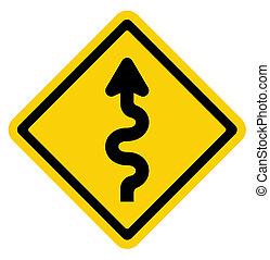 windende straat, meldingsbord