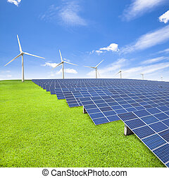 windenergie, panelen, turbine, zonne