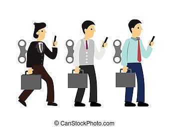 winder, employee., technologia, biznesmeni, kiepski, albo, zwyczaj, back., ich, robot, pojęcie, nałóg