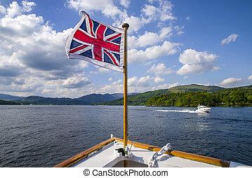 windermere, district, lac, britannique, voyage, bateau