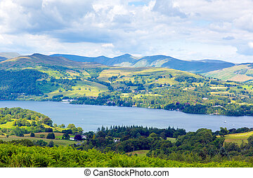 Windermere Lake District National Park England uk on a beautiful summer day popular tourist attraction
