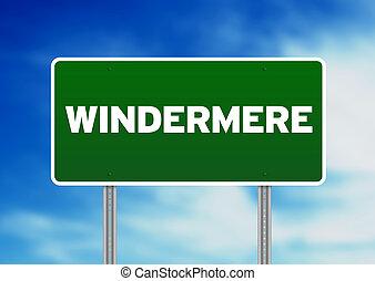 windermere, signe, angleterre, route, -, vert