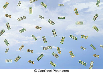 Windfall - American paper money falling from the sky.