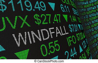 Windfall Big Profits Earnings Stock Market Ticker Words 3d...