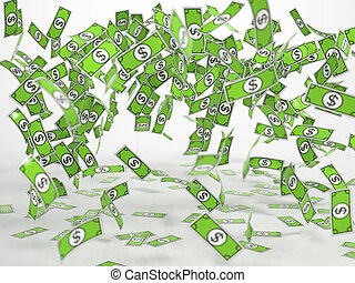 Windfall of comic style bank notes - Windfall of green comic...
