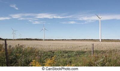 Windfarm. Farmer's fields.
