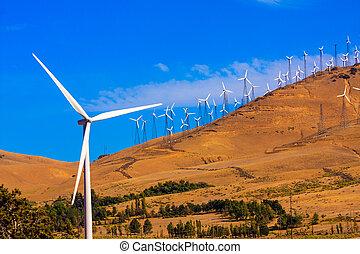 Windfarm on a bright sunny day