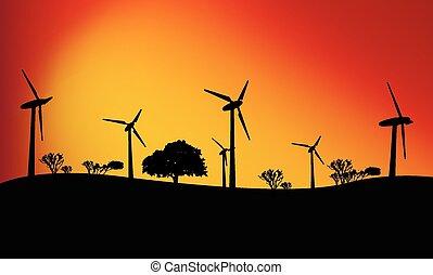 Large wind turbines at sunset, vector art illustration.