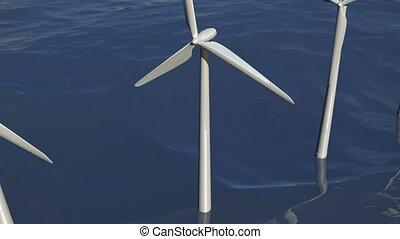 windfarm, vent, animé, turbines, océan