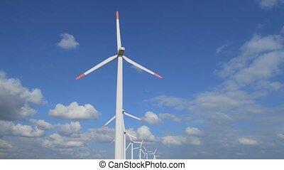 Windgenerator park in line
