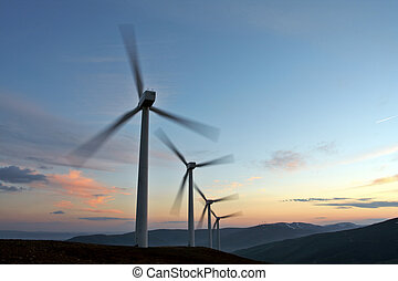 windgeneratoren, bauernhof, drehung, (movement, sensation)