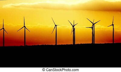windgeneratoren, betreiben generator, an, twilight., zypern