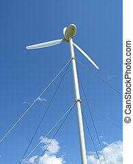 windgeneratoren, in, der, blauer himmel