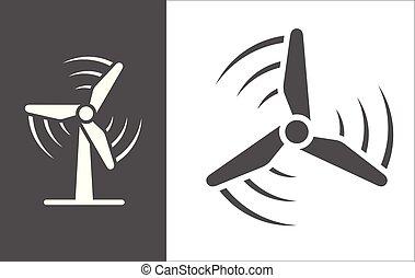windgeneratoren, vektor, ikone