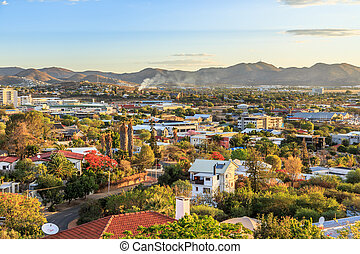 Windhoek rich resedential area quarters on the hills with mountains in the background, Windhoek, Namibia