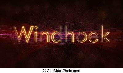 Windhoek - Shiny looping city name in Namibia, text...
