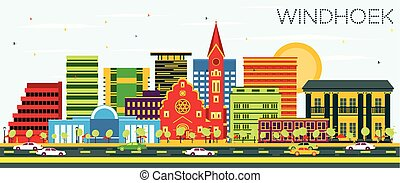 Windhoek Skyline with Color Buildings and Blue Sky.
