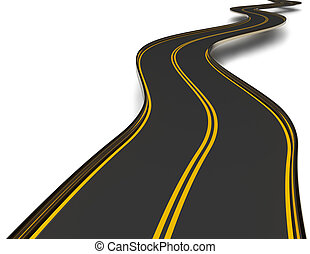 winding asphalt road with double dividing strip - a winding...