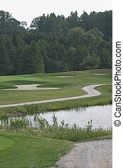 Winding cart path on the golf course