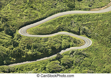 Winding country road. - Aerial of winding country road...