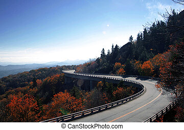 winding curve at blue ridge parkway