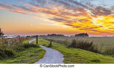 Winding cycling track through Dutch Polder landscape under beautiful sunset