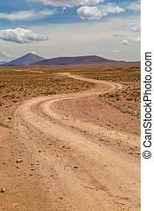 Winding dirt road in a high desert. Altiplano, Bolivia
