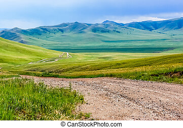 Winding dirt track in Mongolian steppe