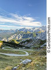 Winding mountain pathway in Bavarian Alps