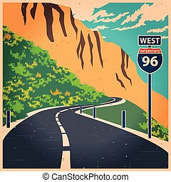 Winding mountain road old poster