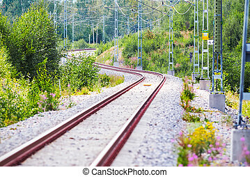 Winding railtrack in a curvy section