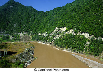 winding river in mountain area
