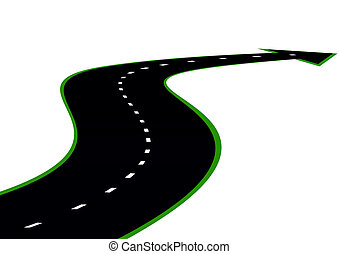 A winding road with road markings and an arrow indicating the direction. The road stretches into the distance.